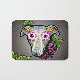 Greyhound - Whippet - Day of the Dead Sugar Skull Dog Bath Mat