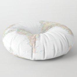 Clear World Map Floor Pillow
