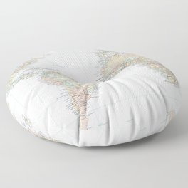 Clear World Map Floor Pillow