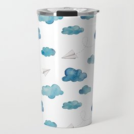 paper airplanes flying amongst the blue clouds Travel Mug