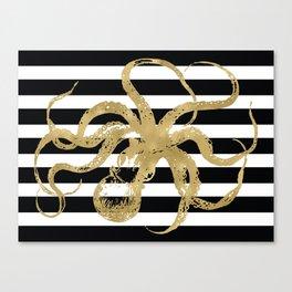 Gold Octopus on Black & White Stripes Canvas Print