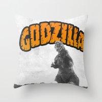 godzilla Throw Pillows featuring godzilla  by sr casetin