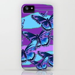 MODERN INDIGO BLUE BUTTERFLIES & PURPLE  HORIZON LANDSCAPE iPhone Case