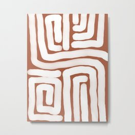 Bronze and White Lines Abstract Print Metal Print