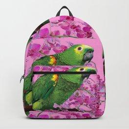 PINK TROPICAL GREEN PARROT & FUCHSIA ORCHIDS  ART Backpack