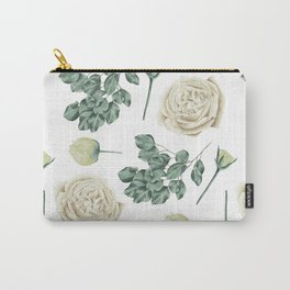Flower Shop Ivory Cream Roses Pattern Carry-All Pouch