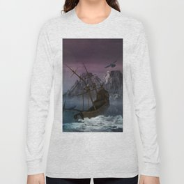 Awesome shipwreck in the night Long Sleeve T-shirt