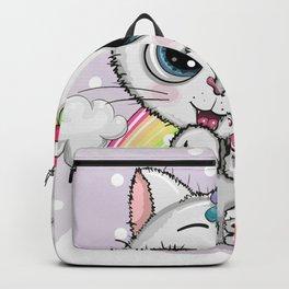 Cute Cartoon White Kitten Horn Unicorn Backpack