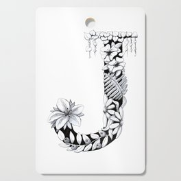 Floral Pen and Ink Letter J Cutting Board