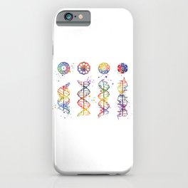 DNA Helix A-B-C-Z Medical Art Prints Genetic Doctor Gift Biology Poster DNA Print Watercolor Print iPhone Case