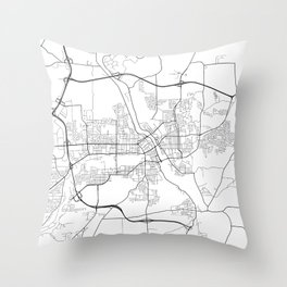 Sherbrooke Map, Canada - Black and White Throw Pillow