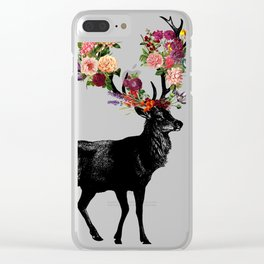 Spring Itself Deer Floral (Cream) Clear iPhone Case