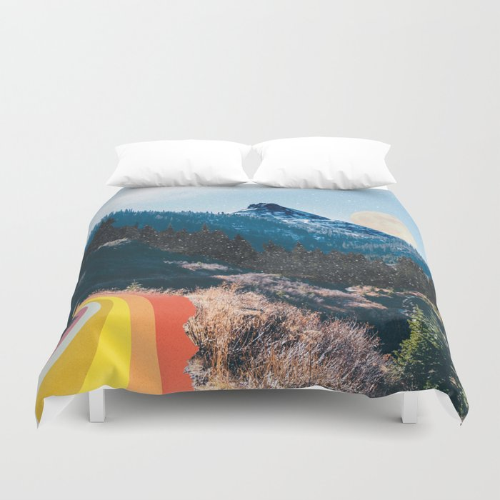 1960's Style Mountain Collage Duvet Cover
