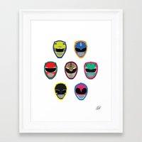 power rangers Framed Art Prints featuring Rangers by Ocelotdude Designs