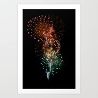 fireworks Art Prints featuring Fireworks by Tanya Thomas