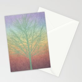 Green grunge tree Stationery Cards