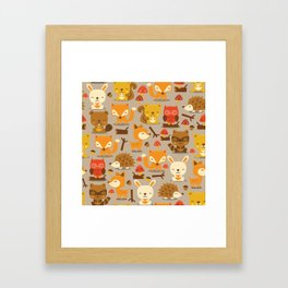 Super Cute Woodland Creatures Pattern Framed Art Print