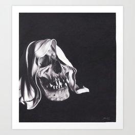 Realism Charcoal Drawing of Reaper Skull Art Print