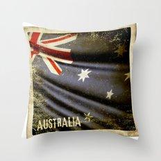 Grunge sticker of Australia flag Throw Pillow
