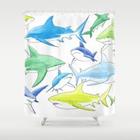 sharks Shower Curtains featuring sharks by Kathryn Rickards