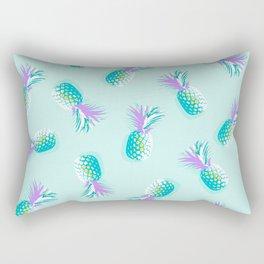 Tropical Pineapple Party Pattern - Aqua & Violet #Summervibes Rectangular Pillow