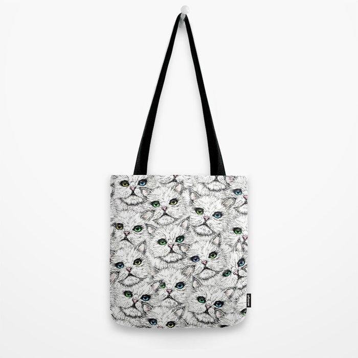 White Kitty Faces Tote Bag