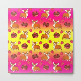 Cute happy playful funny puppy corgi dogs, sweet adorable yummy chocolate cake cartoon and red summer strawberries light sunny yellow raspberry pink design. Metal Print