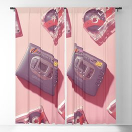 Walkman and Cassettes in pink Blackout Curtain
