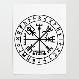 Vegvisir with futhark Poster