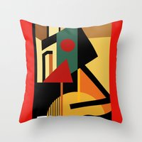kandinsky Throw Pillows featuring THE GEOMETRIST by THE USUAL DESIGNERS