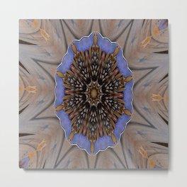 Blue Brown Kaleidoscope Retro Groovy Image Metal Print