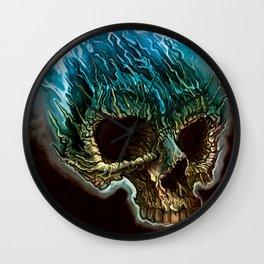 Flaming Skull Wall Clock