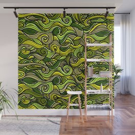 Snakes green plants plant pattern Wall Mural