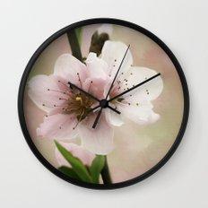 Pink Peach Blossoms Wall Clock