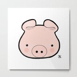 Piggy Kawaii Metal Print