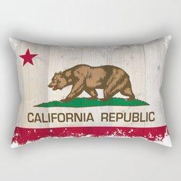 California Republic state Bear flag on wood Rectangular Pillow