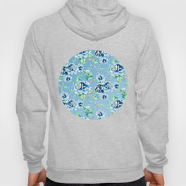Chinoiserie Ming style Blue Floral Pattern Hoody