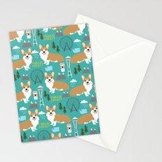 Corgi seattle washington welsh corgi pattern print dog lover gifts space needle ferris wheel coffee Stationery Cards