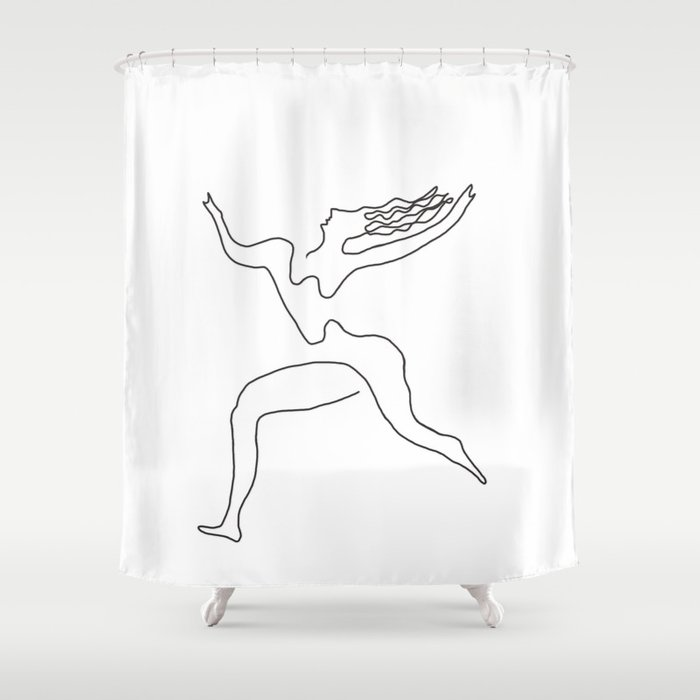 One Line Picasso Variant (with Hair) Shower Curtain
