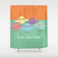 gym Shower Curtains featuring Birds Gym Class by Juliana Motzko