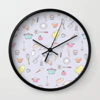 cooking Wall Clocks featuring Cooking Pattern by Little Holly Berry