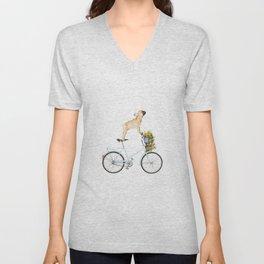 French Bulldog on Bicycle Unisex V-Neck
