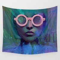 glasses Wall Tapestries featuring Pink Glasses girl by Ganech joe