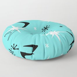 Vintage 1950s Boomerangs and Stars Turquoise Floor Pillow