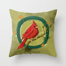 Cardinal Iris Throw Pillow