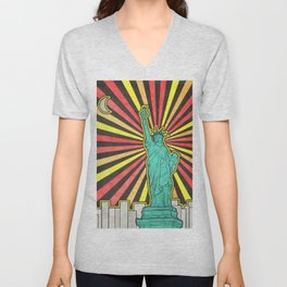 Statue of Liberty in New York Unisex V-Neck