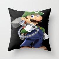 luigi Throw Pillows featuring Luigi by Halohappy