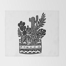 Botanical Pot Block Print Throw Blanket