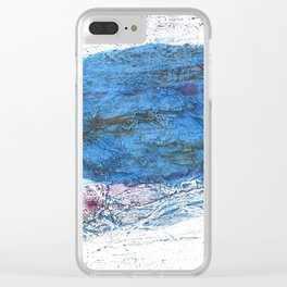 Steel blue colored wash drawing texture Clear iPhone Case