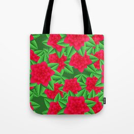 Dark Red Camellias and Green Leaves Tote Bag